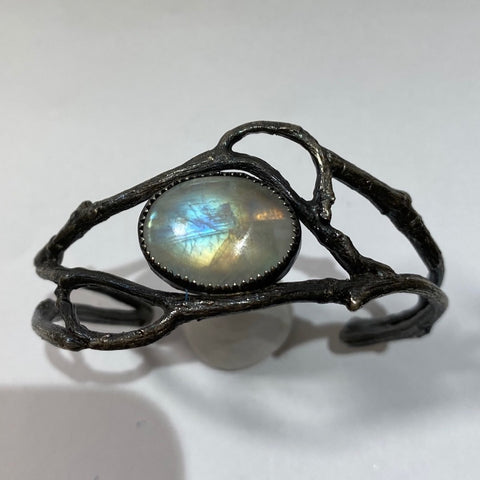 Sterling Moonstone Vine Cuff Size 6.5 March Special Release