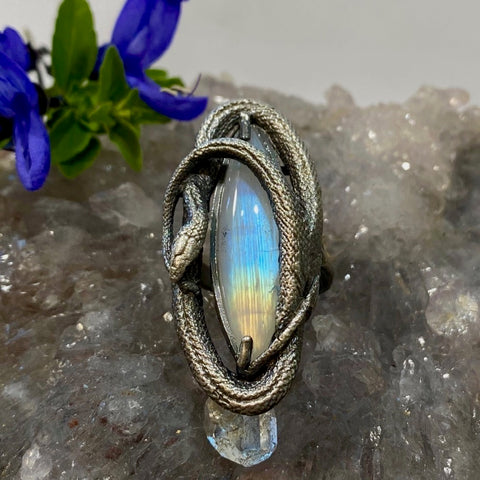 Swirling Snake Ring Gradient Moonstone Size 6.5 March Special Release