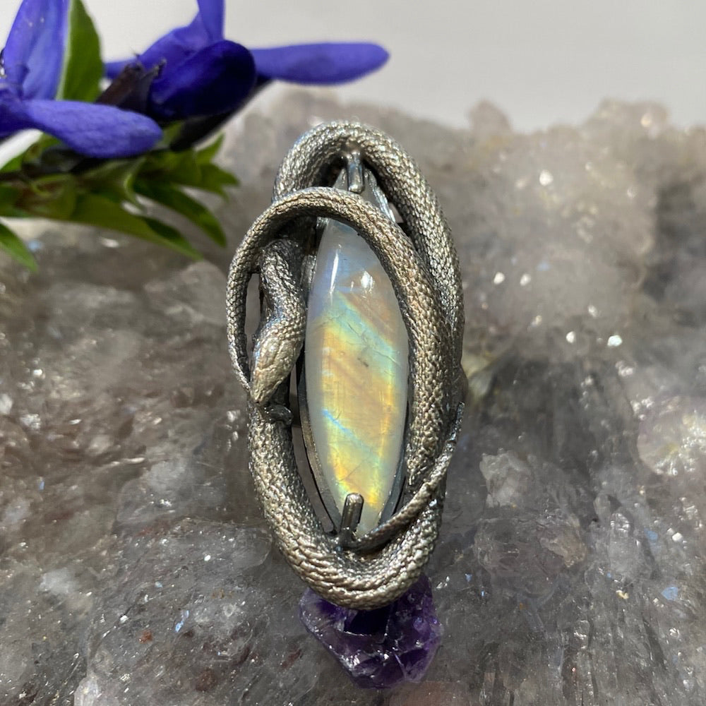 Swirling Snake Ring Patterned Rainbow Moonstone Size 6.5 March Special Release