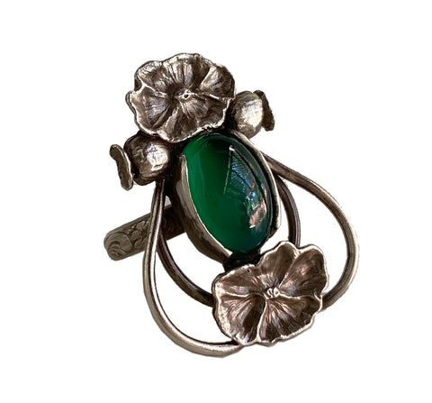 Art Nouveau Poppy Ring Green Onyx Sterling
