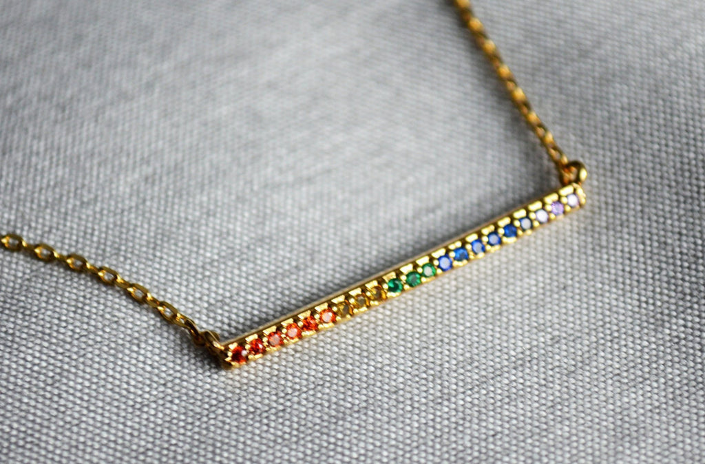 16K Rainbow Bar Pendant, LGBT Rainbow Necklace, Layering Necklace