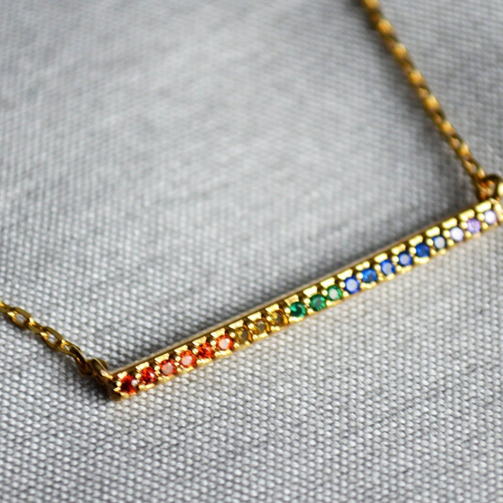 16K Rainbow Bar Pendant, Friend Gift, Birthday Gift, LGBT Gift, Rainbow Necklace, Gift for Her, Best Friend Gift, Layering Necklace