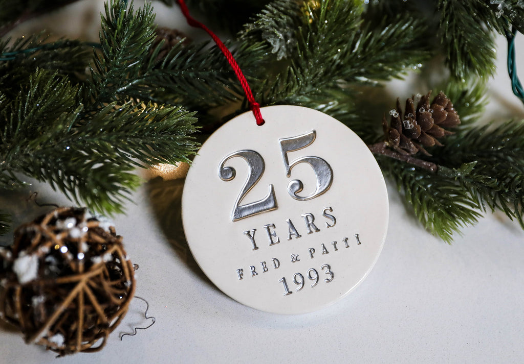 25th Anniversary Ornament, Silver Anniversary, 25th Wedding Anniversary - Gift Boxed