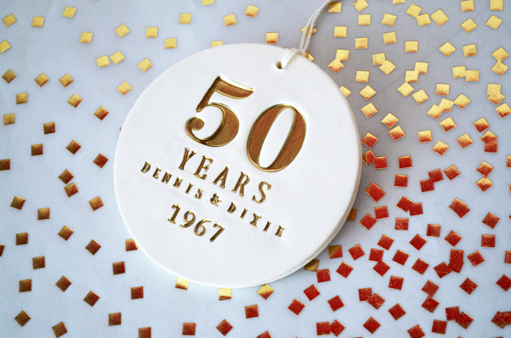50th Anniversary Gift, Golden Anniversary Gift, 50th Wedding Anniversary Ornament- Gift Boxed
