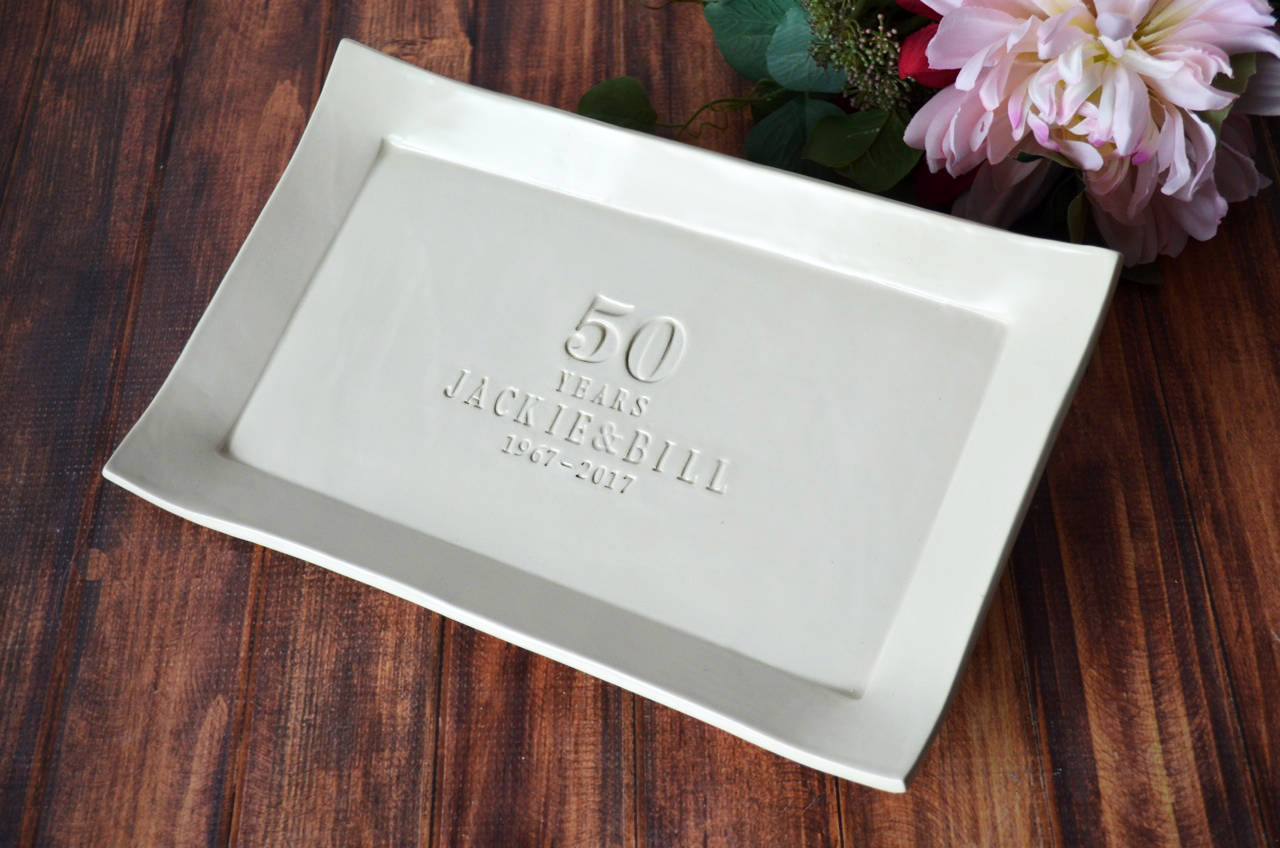 50th Anniversary Gift Or Signature Guestbook Platter Rectangular Personalized Platter Gift Boxed Susabella