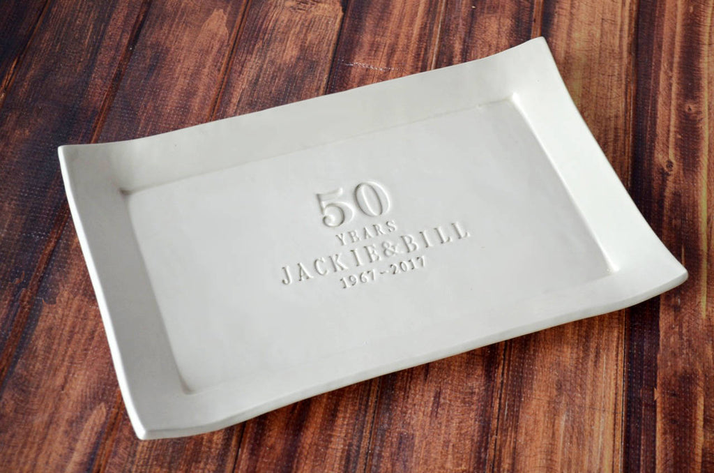 50th Anniversary Gift or Signature Guestbook Platter - Rectangular Personalized Platter - Gift Boxed