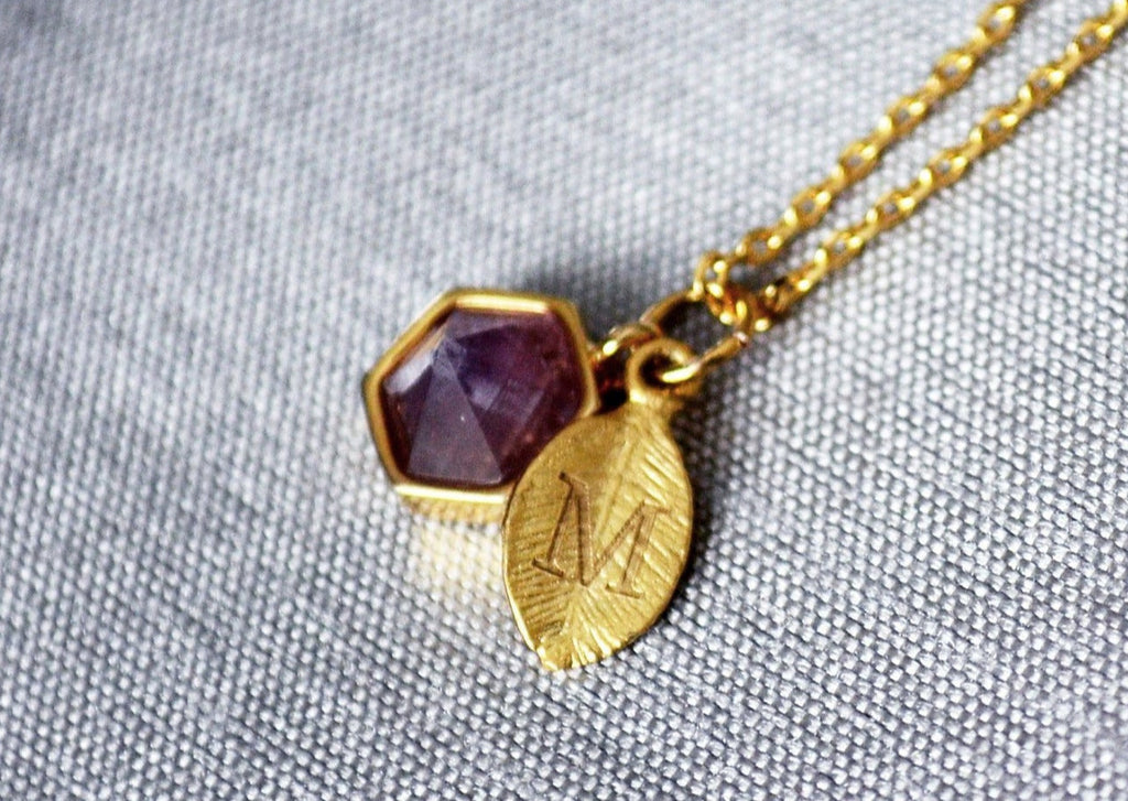 Amethyst Necklace, February Birthstone Necklace, Aquarius Necklace, Bridesmaid Necklace, Custom Initial Necklace, Purple Hexagon Necklace