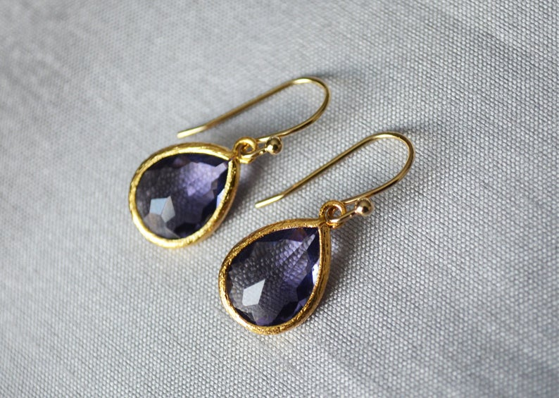 Amethyst earrings, February Birthstone Gift, February Birthstone earrings, Bridesmaid earrings, Birthday Gift for Her, Tear Drop Earrings