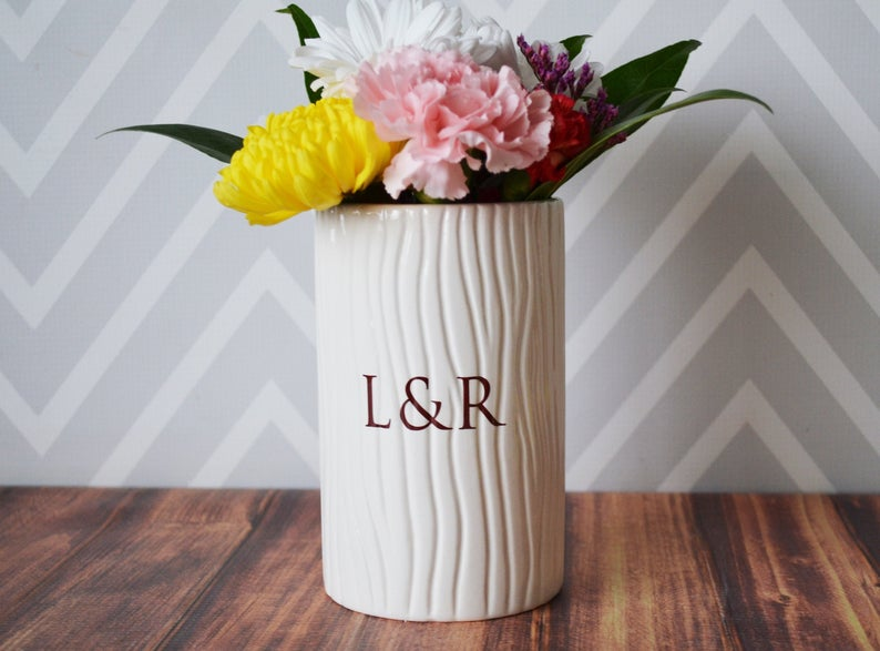 Anniversary Gift, Wedding Gift, Engagement Gift or Wedding Centerpiece -Tall Ceramic Wood Grain Vase -Personalized Modern & Rustic Vase
