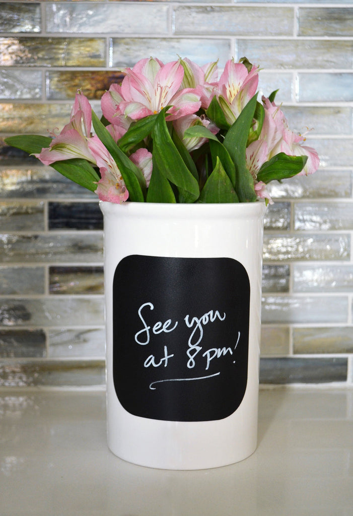 Anniversary Gift, Wedding Gift or Engagement Gift - Use as a Personalized Vase or Utensil Holder with Chalkboard Back to Write On