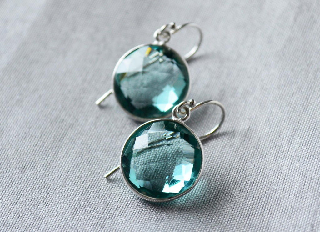 Aquamarine Earrings, March Birthstone Earrings, Birthday Earrings, Sterling Silver or 14K Gold Fill, Gift for Wife, Bridesmaid Gift
