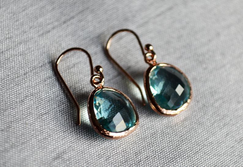 Aquamarine Earrings, March Birthstone Gift, March Birthstone earrings, Aquamarine Jewelry Set
