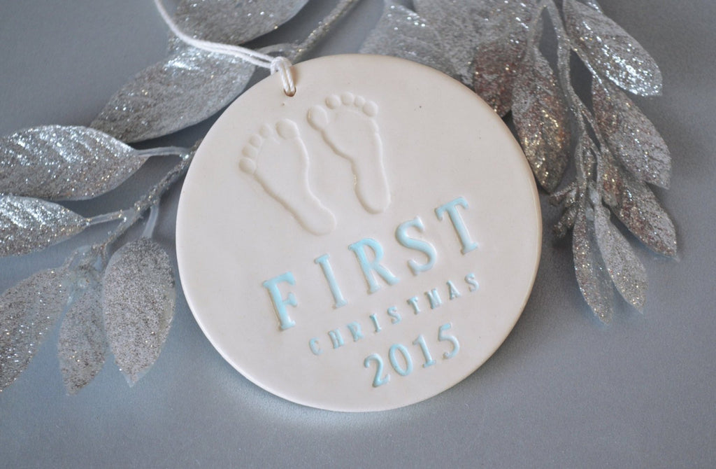 Baby's First Christmas Ornament with Footprint and Year - SHIPS FAST - Text available in blue, pink, silver, gold and more - Gift Boxed