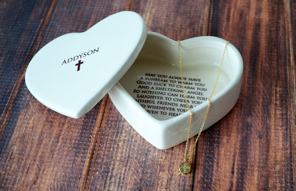 Baptism Gift, Confirmation Gift, First Communion Gift, Godchild Gift - Heart Keepsake Box w/ Cross Necklace - with Irish Blessing