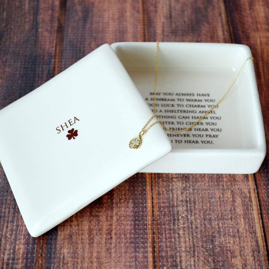 Baptism Gift, Confirmation Gift, First Communion Gift, Godchild Gift - Square Keepsake Box w/ Cross Necklace - with Irish Blessing