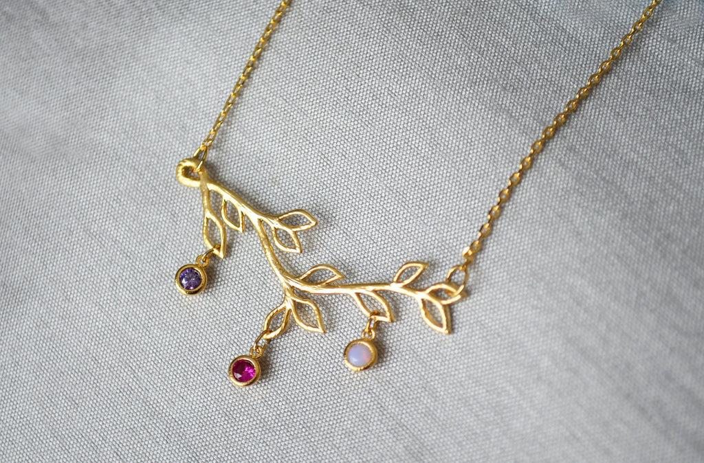 CUSTOM LISTING for Christian - Branch Necklace in GOLD with 5 Birthstones and 3 Initial Leaf Charms