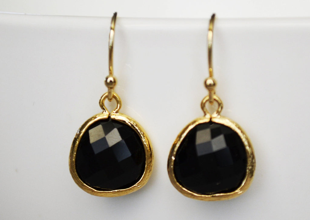 Black Onyx Earrings, Gift for Her, Wife Gift, Onyx Jewelry Set, Black Onyx Jewelry