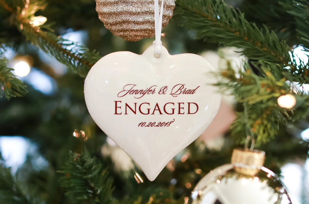 Engagement Ornament - Engagement Gift, Bridal Shower Gift, or Christmas Gift - Heart Shaped With Names and Date