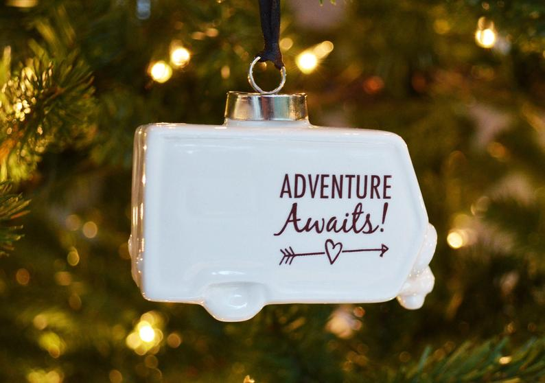 Camper Ornament, Adventure Awaits Ornament, Christmas Camping Ornament, RV Ornament, Vintage Camper Ornament, Camping Ornament