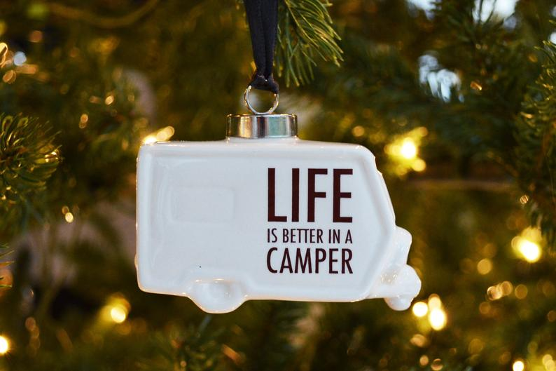 Camper Ornament, Christmas Camping Ornament, Life is Better in a Camper Ornament, RV Ornament, Vintage Camper Ornament, Camping Ornament