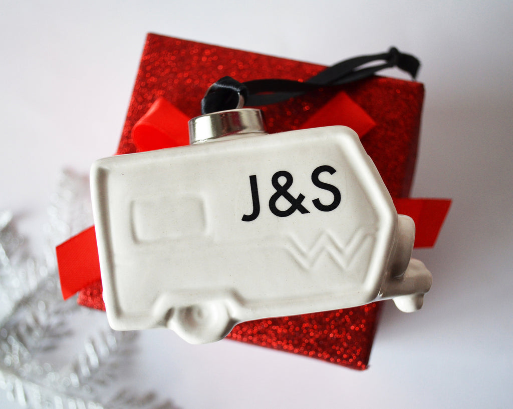 Camper Ornament, Christmas Camping Ornament, RV Ornament, Happy Camper Ornament, Vintage Camper Ornament, Camping Ornament - Personalized