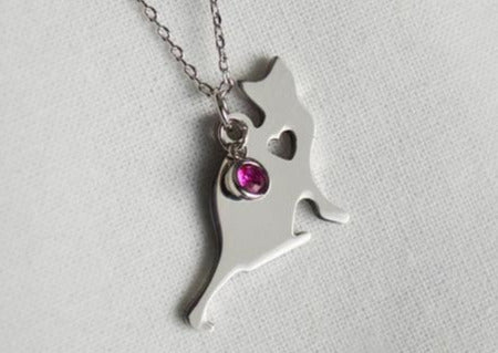 Cat Necklace, Cat Lover Gift, Cat Jewelry, Birthstone Necklace, Cat Gift For Her, Cat Gift Idea, Friend Gift, Best Friend Gift -Gift Boxed