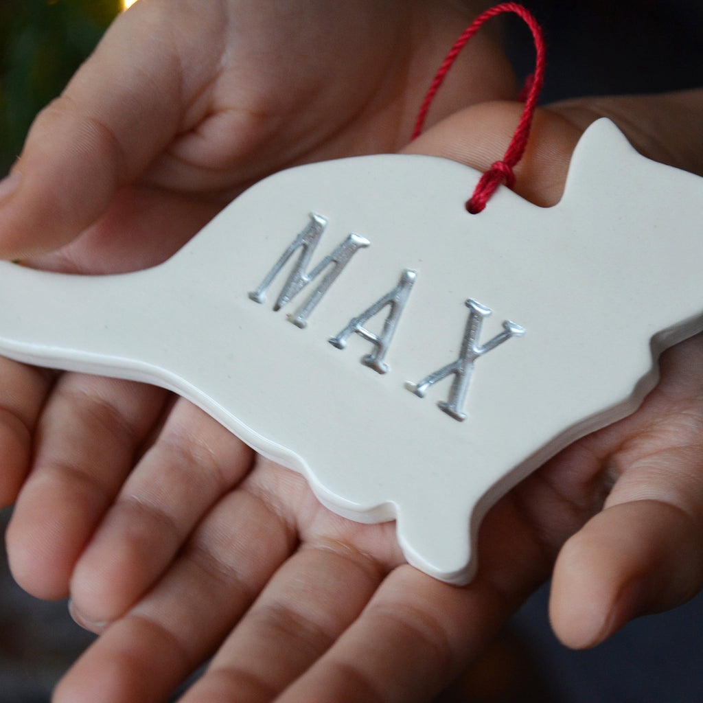 Cat Christmas Ornament, Personalized Cat Ornament, Custom Cat Ornament with Name - Gift Boxed