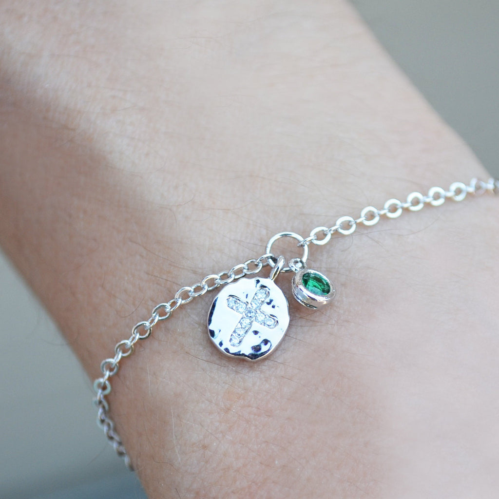 Cross Bracelet, Baptism Gift, First Communion Gift, Confirmation Gift, Goddaughter Gift, Birthstone Bracelet - Godparent or Godchild Gift