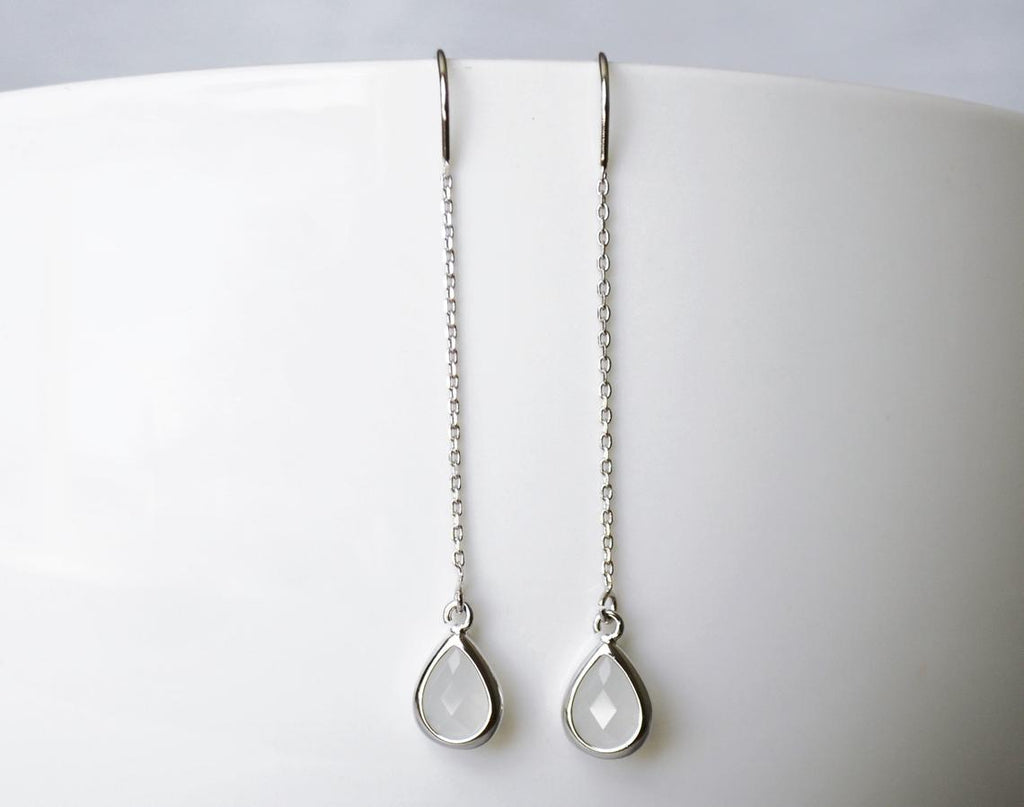 Dainty June Birthstone earrings, Moonstone Drop earrings, Bridesmaid earrings, Threader Tear Drop Earrings, June Birthday Gift