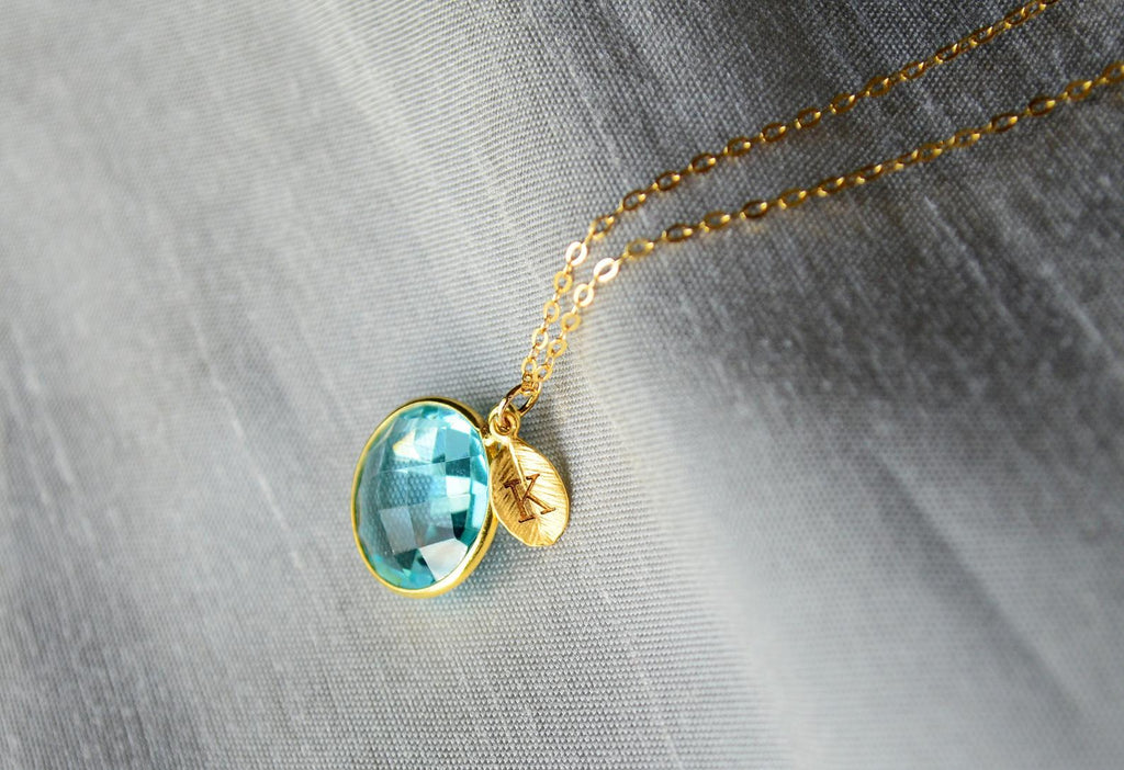 December Birthstone Necklace, Blue Topaz Necklace, 18K Gold or Sterling Silver, Wife Gift, Personalized Round Necklace, Bridesmaid, Mom Gift