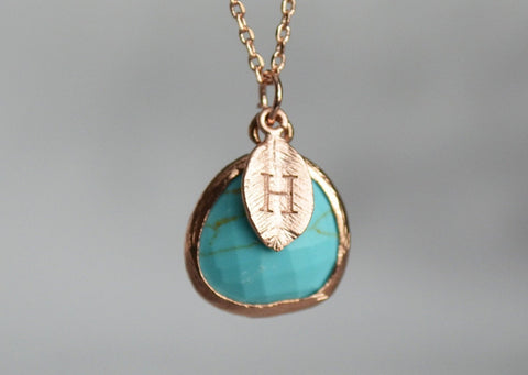 December Birthstone Necklace, Turquoise Necklace, Bridesmaid Necklace, Turquoise Birthstone Necklace, Custom Initial Necklace, Gift for Her