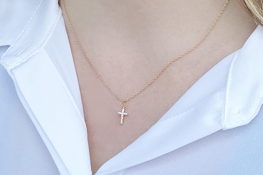 Diamond Cross Necklace, Baptism Gift, First Communion Gift, Confirmation Gift, Godchild Gift, Girls Cross Necklace, Cross Pendant