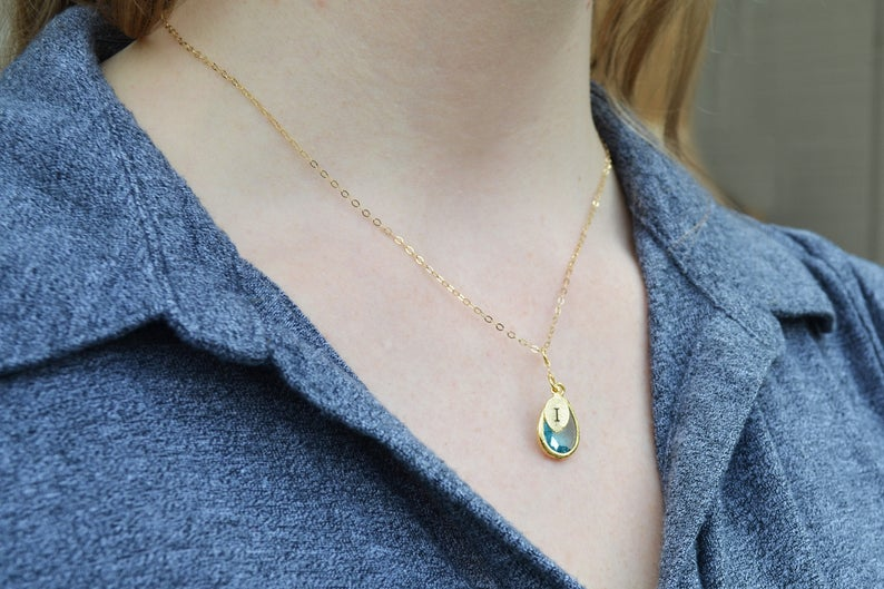 Diamond Necklace, April Birthstone Necklace, Bridesmaid Gift, Mom Birthstone Necklace, Initial Necklace, Mom Gift, Grandma Necklace
