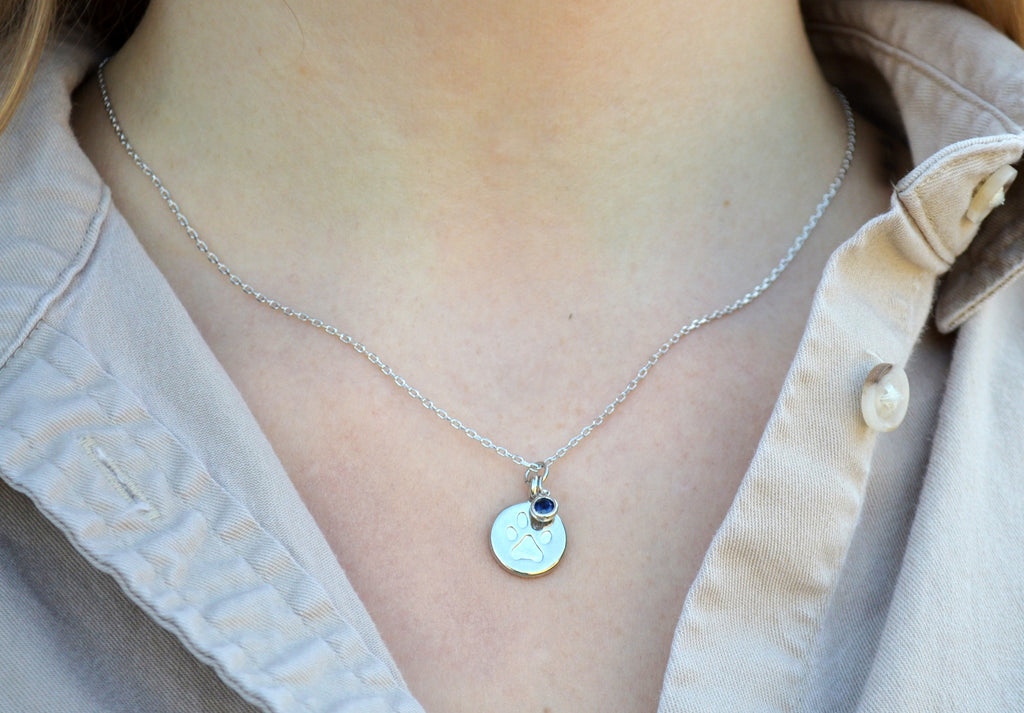 Dog Necklace, Paw print necklace, Birthstone Necklace, Dog Gift For Her - Gift Boxed