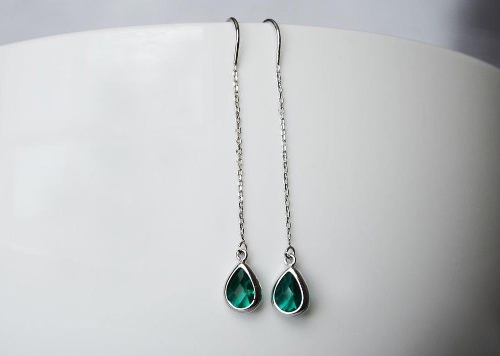 Emerald Birthstone earrings, May Drop earrings, Green Dainty Earrings, Bridesmaid earrings, Threader Tear Drop Earrings, May Birthday Gift