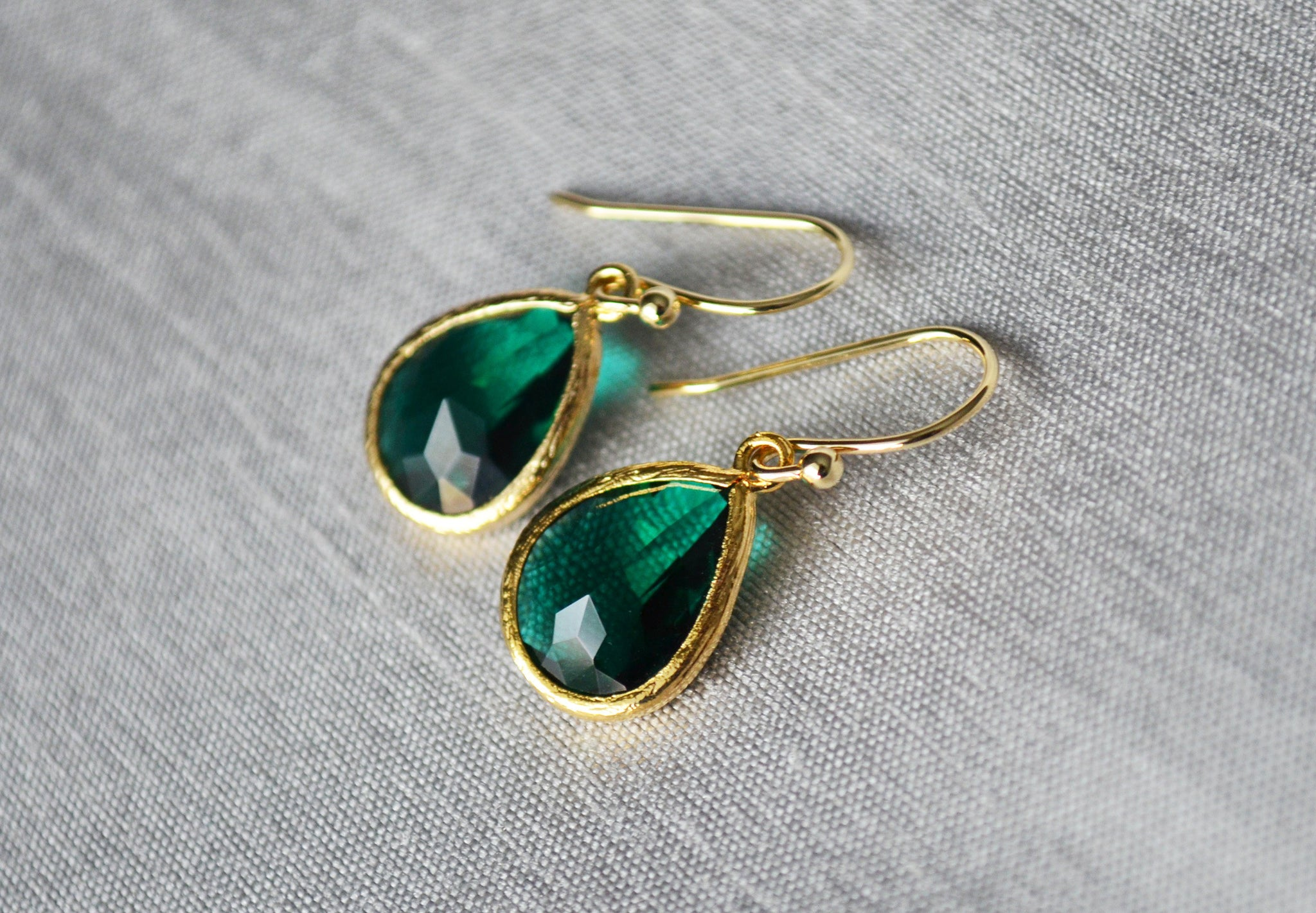 Green stones with Gold dangle earrings Birthday gifts for women