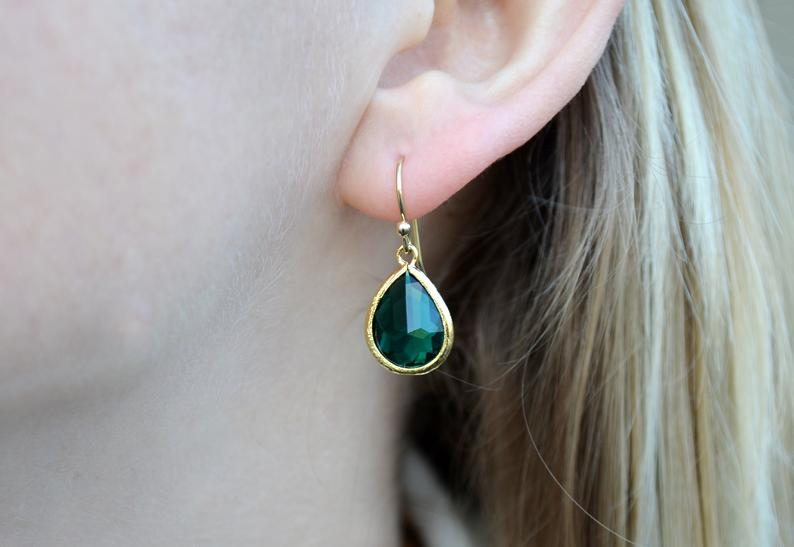 Emerald earrings, May Birthstone Gift, May Birthstone earrings, Green Tear Drop Earrings