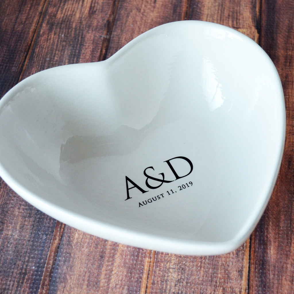 Engagement, Wedding Gift or Anniversary Gift - Personalized Deep Heart Bowl, Fruit Bowl - With Initials and Wedding Date