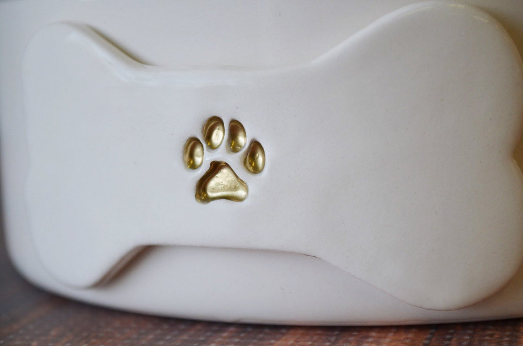 Extra Small Dog Bowl, Puppy Bowl, Personalized Dog Dish With Name or Paw Print - Ceramic