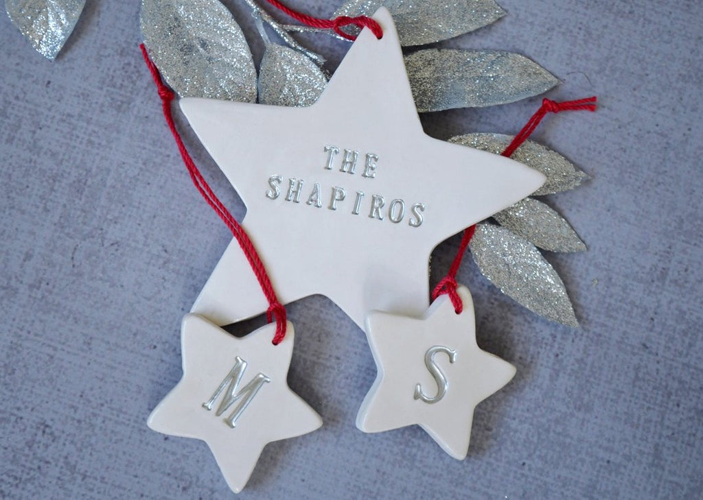 Family of 2 - Customized Star Christmas Ornaments, Gift boxed and Ready To Give
