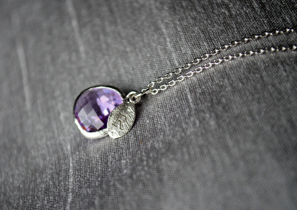 February Birthstone Necklace, Lilac Stone Necklace, Aquarius Necklace, Custom Initial Necklace