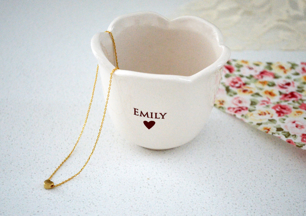Flower Girl Gift, Flower Girl Present, Gift for Flower Girl, Bridal Party Gift, Flower Girl Gift Idea - Flower Keepsake Cup With Necklace