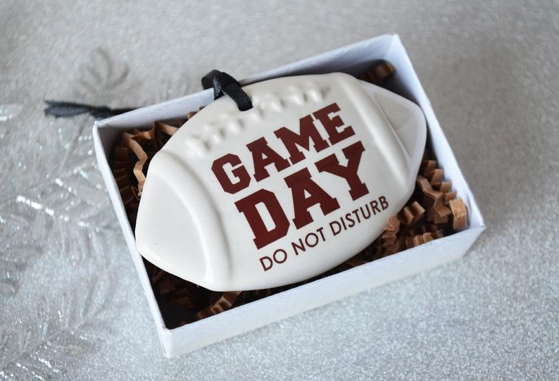 Football Ornament, Game Day Do Not Disturb, Football Lover Gift For Husband, Sports Ornament