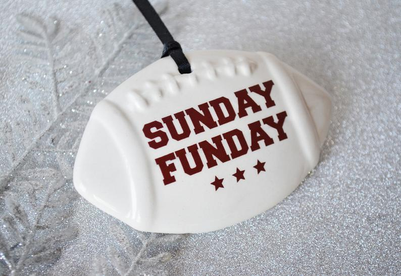 Christmas Gift For Football Player Sunday Funday Ornament Football Lover Christmas Gift Football Ornament Gift under 20 Sports Ornament