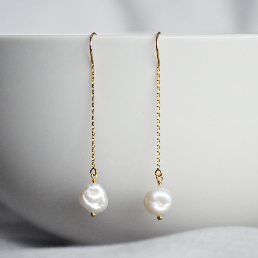 Fresh Water Pearl earrings, June Birthstone Gift, June Birthstone earrings, Bridesmaid earrings, Pearl Tear Drop Earrings