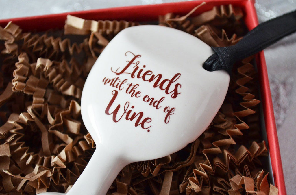 Funny Christmas Gift - Wine Glass Ornament - SHIPS FAST - Friends Until The End Of Wine - Gift Boxed