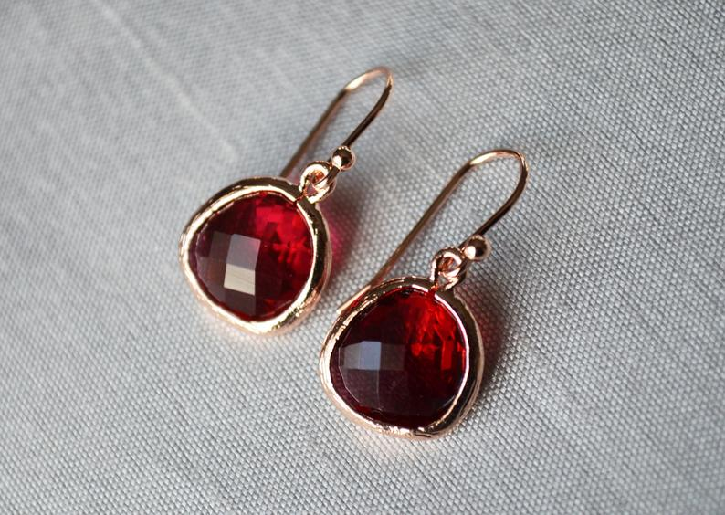 Garnet Earrings, January Birthstone Gift, January Birthstone earrings, Bridesmaid earrings, January Birthday Gift for Her, Garnet Jewelry