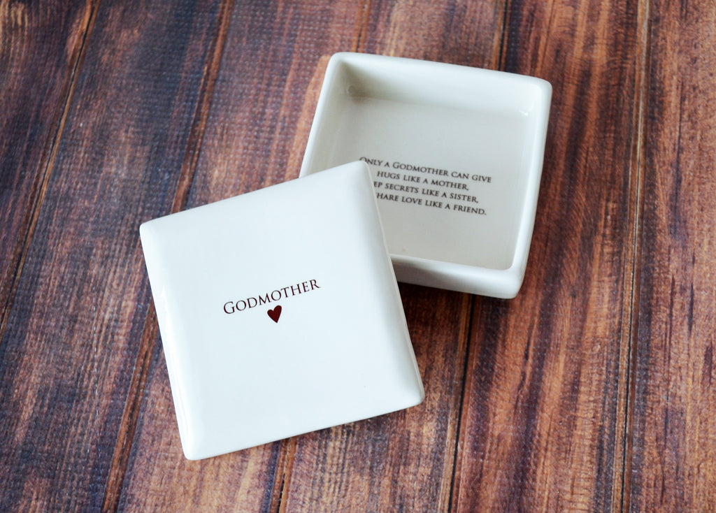 Godmother Gift, Godmother Gift Idea, Godparent gift, Godparent Gift for Baptism, Godparent Gift Idea - SHIPS FAST - Square Keepsake Box