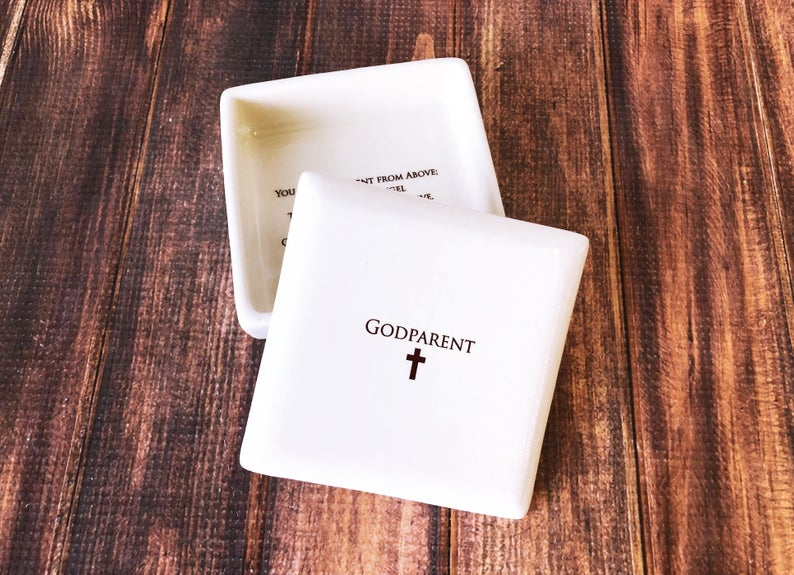 Godparent Gift for Baptism, Godparent Present, Godparent Gift Idea, Godmother Gift , Godmother Present, Godparent gift - Square Keepsake Box