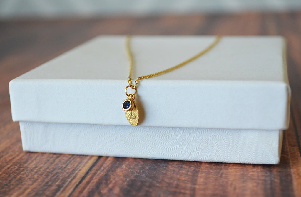 Gold Leaf Necklace, Birthstone Necklace, Mother's Day Gift, Bridesmaid Gift, Personalized Necklace, Birthday Gift, Necklace with Birthstone